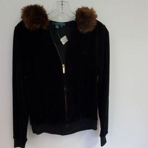 Ralph Lauren Velour Hoody Jacket faux fur